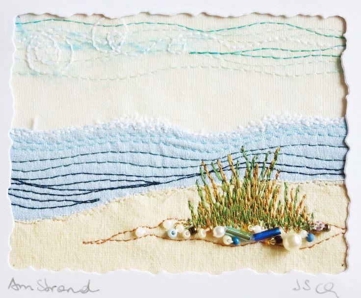 """Genähtes kleines Bild """"Am Strand"""", 6,5 x 8,5 cm"""