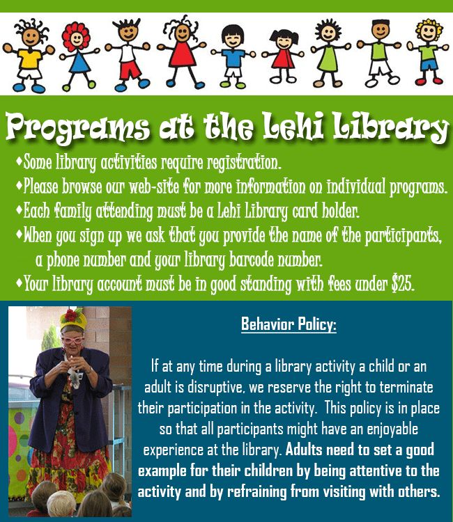 Many wonderful programs offered at Lehi Library for ALL ages. Register early, space fills up fast.