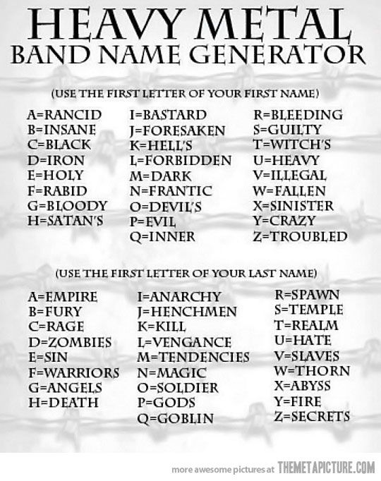 whats your heavy metal band name