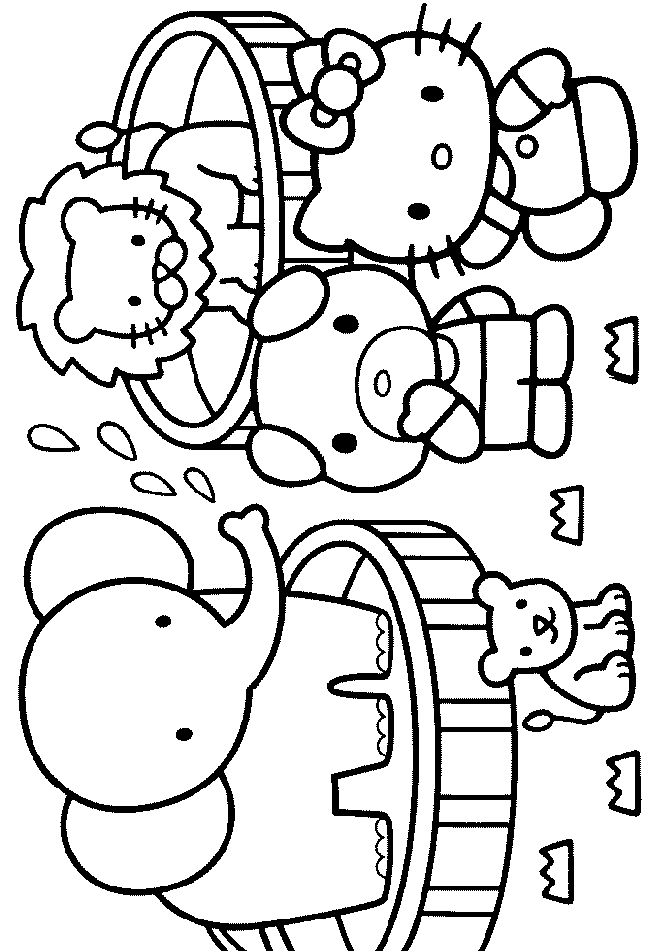 hello kitty jodie and the pet dog are watching the show of the circus lion and elephant enjoy this beautiful hello kitty coloring page