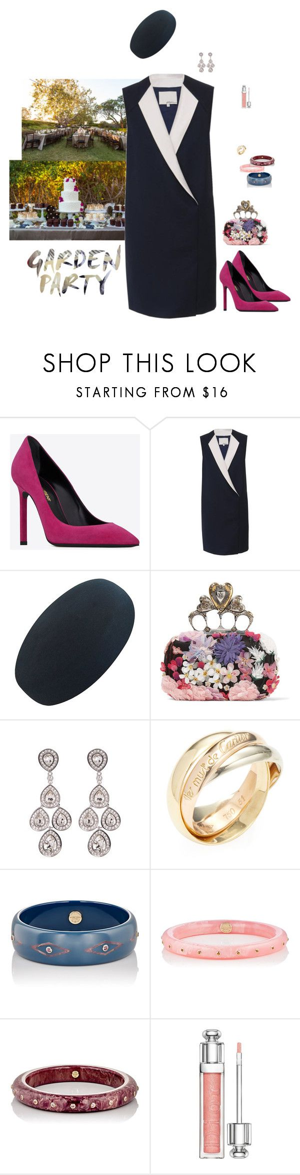 """""""Ready for the Garden party."""" by srtagraham ❤ liked on Polyvore featuring 3.1 Phillip Lim, Alexander McQueen, Swarovski, Cartier, Mark Davis and Christian Dior"""