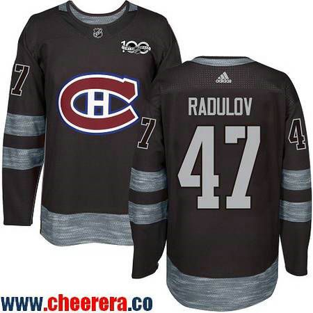Men's Montreal Canadiens #47 Alexander Radulov Black 100th Anniversary Stitched NHL 2017 adidas Hockey Jersey