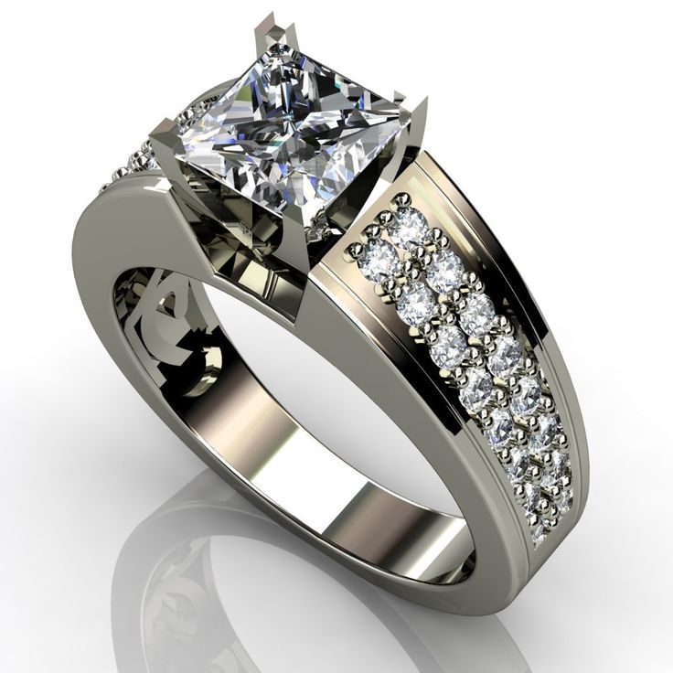 Princess Cut Diamond Engagement Ring - This is an incredible 2.60 carat Princess Cut Diamond Engagement Ring stamped in 14k White Gold. It features White Diamonds all within a prong setting & the total width is 8mm with 36 accent side stones. It has a very good cut & the stones are E-F in color quality & an VVS1-VV2 in diamond clarity. All of the diamonds are 100% natural & treated. #unusualengagementrings