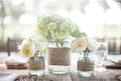 Twine around glass vases. I'm going to do this the glass salsa bottle we just finished!: Decor, Ideas, Masons, Twine, Rustic Centerpieces, Mason Jars Centerpieces, Flowers, Rustic Wedding, Center Pieces