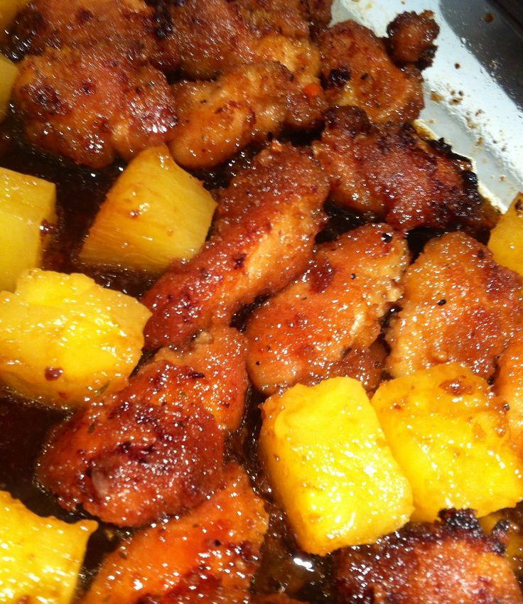 Pineapple chicken!  1 cup juice from canned pineapples  1/2 cup packed brown sugar 1/3 cup soy sauce   I cut 5 chicken thighs into cubes, dipped them in beaten egg, shook them in bread crumbs and baked in oven at 350 for 45 mins then poured  the pinapple soy sauce mix over and added pineapple chunks and baked for another 15 mins.   Had on rice was AMAZING!