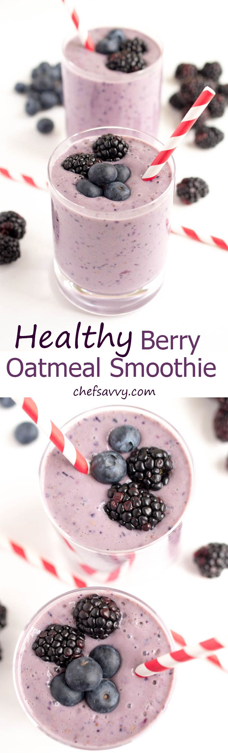 A super simple 5 ingredient Healthy Berry Yogurt Smoothie. Protein packed to keep you full throughout the day. A perfect on the go breakfast! | chefsavvy.com