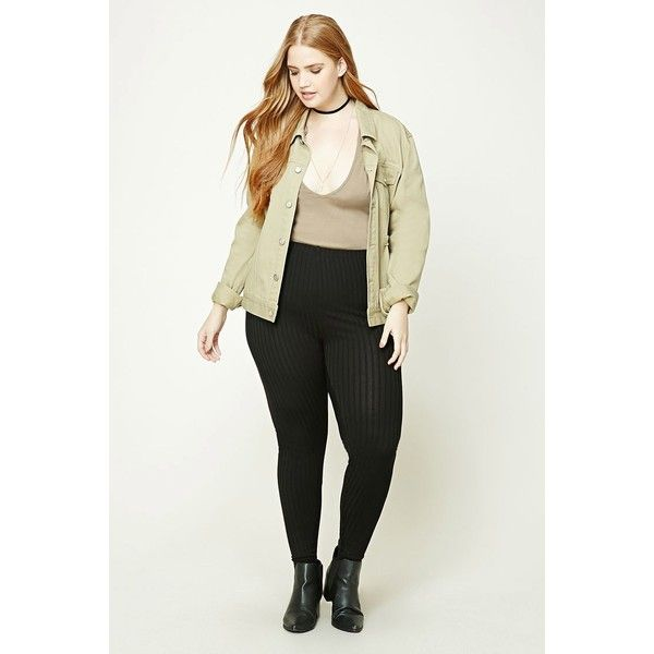 Forever21 Plus Size Ribbed Leggings ($9.03) ❤ liked on Polyvore featuring plus size women's fashion, plus size clothing, plus size pants, plus size leggings, black, elastic waist pants, ribbed leggings, legging pants, stretch waist pants and forever 21 pants