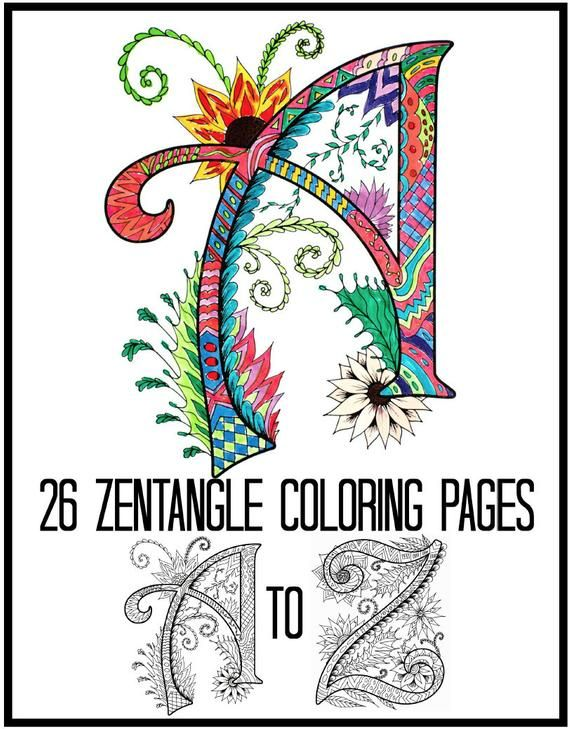 Alphabet Coloring Pages Zentangle Coloring Book For Adults Etsy Coloring Pages Printable Coloring Book Alphabet Coloring Pages