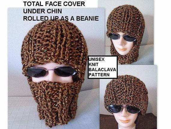 great FLAT KNIT Unisex Balaclava PATTERN, BEANIE HAT PATTERN... wear it 3 WAYS: https://www.etsy.com/listing/216938776/knitting-pattern-knit-balaclava-ski-hat?