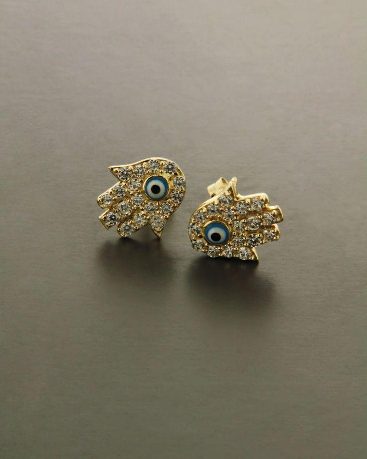 Σκουλαρίκια χρυσά Κ14 με Ζιργκόν
