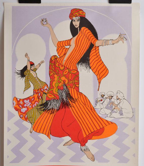 Vintage 60s Illustration by Betty Brader,  #fashionillustration #MCM #60s #gypsy