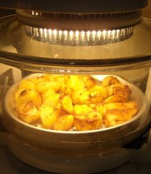 Halogen oven chef: simple roast chicken and chips recipe