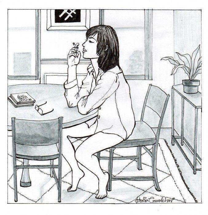 Ilustraciones de Idalia Candelas. Mujer fumando un cigarrillo en el comedor de su hogar
