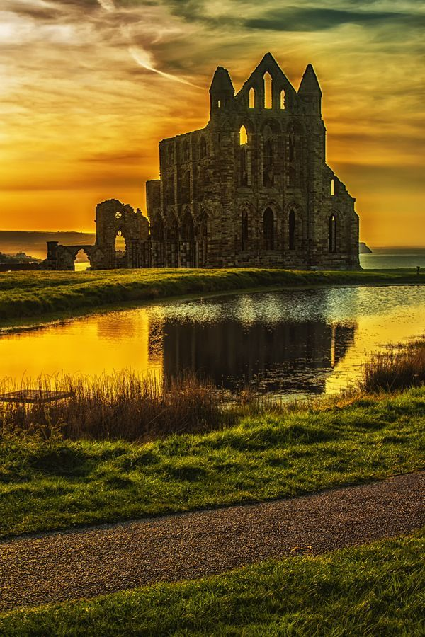 Whitby Abbey - Yorkshire, England <-- previous pinner.  Home to vampires and the Green Ghost.