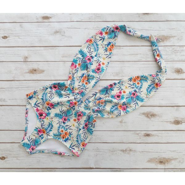 Swimsuit High Waisted Vintage Style One Piece Retro Pin-Up Bathing... ($56) ❤ liked on Polyvore featuring swimwear, one-piece swimsuits, silver, women's clothing, high-waisted bathing suits, high waisted bathing suits, see through bikini, halter top one piece swimsuits and retro one piece swimsuit