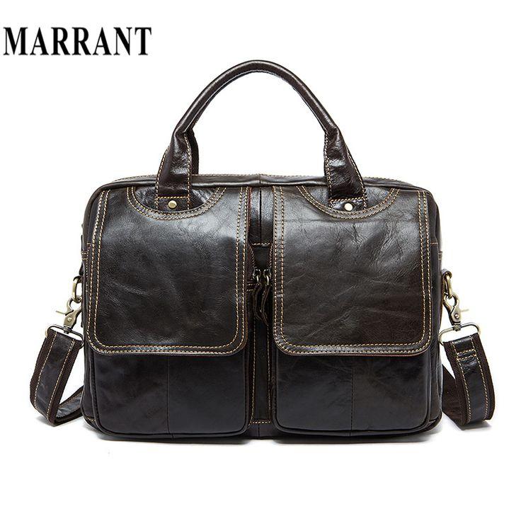 MARRANT Genuine Leather Men Bag Men Messenger Shoulder Bags Men's Crossbody Bag Men's Briefcase Leather Laptop Bags 14'' Handbag