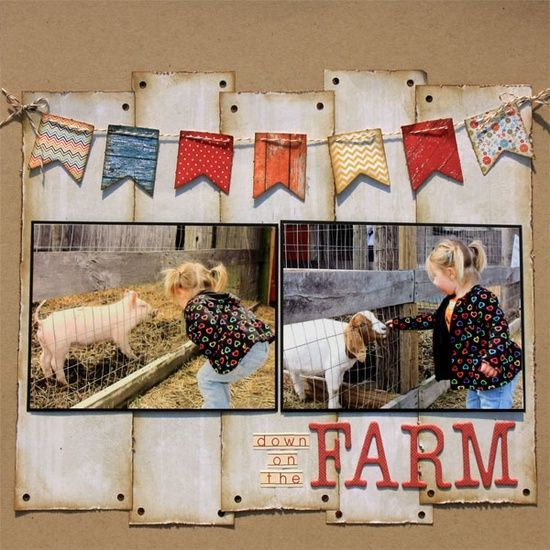 Barnyard Scrapbook | like the strips of barn paper | Scrapbooking