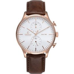 OBAKU Gran - mahogany // rose gold stainless steel men's multifunction watch with a brown leather strap