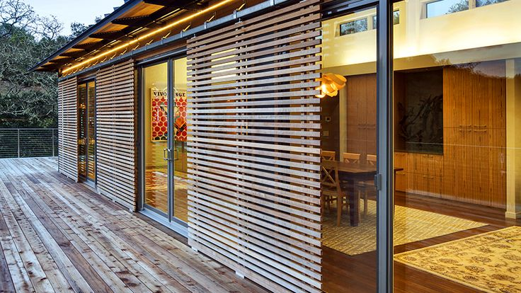 Photo Gallery - Blu Homes. Sliding wood slat screen