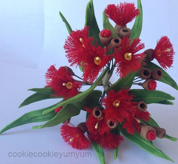 1 edible 3D GUM FLOWER & Gumnut spray australian native cake decoration cupcake wedding topper decoration anniversary birthday engagement