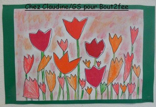 Un petit tour en Hollande avec ces magnifiques champs de tulipes que ma collègue de grande section a fait faire à ses élèves. Les tulipes ont été réalisées en dessin et en découpage. Elles ont été ensuite soulignées au feutre noir Le fond a été réalisé...