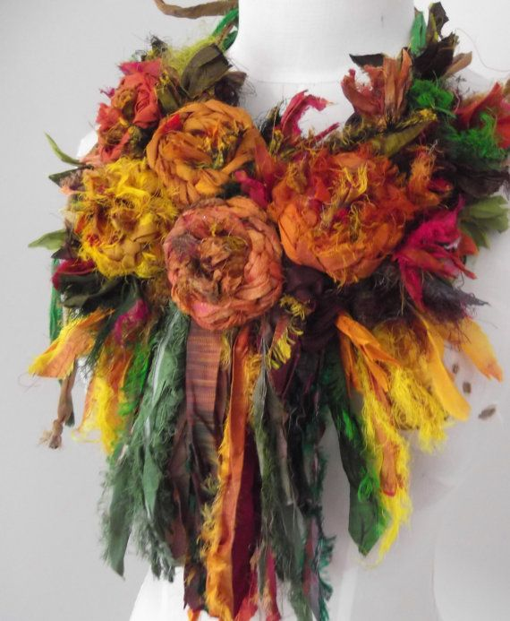 Recycled Sari Silk  Rosette Statement Necklace Neckpiece earthy shades of autumn via Plumfish.