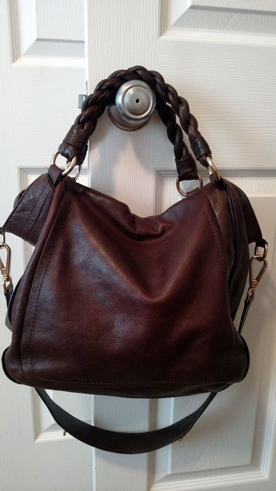 Banana Republic EUC, Braided Handles Satchel, Shoulder or Crossbody, Dark Brown! #BananaRepublic #ShoulderBag - woman hand bag, small zip around purse, pink purse *sponsored