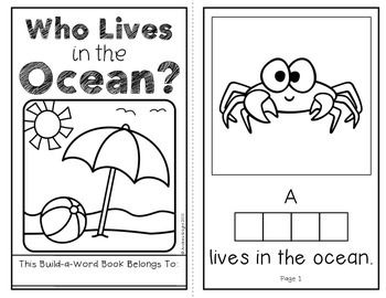 Who Lives in the Ocean?  (An Interactive Build-A-Word Book for K-1 Readers)  #oceananimals  #wordwork  $