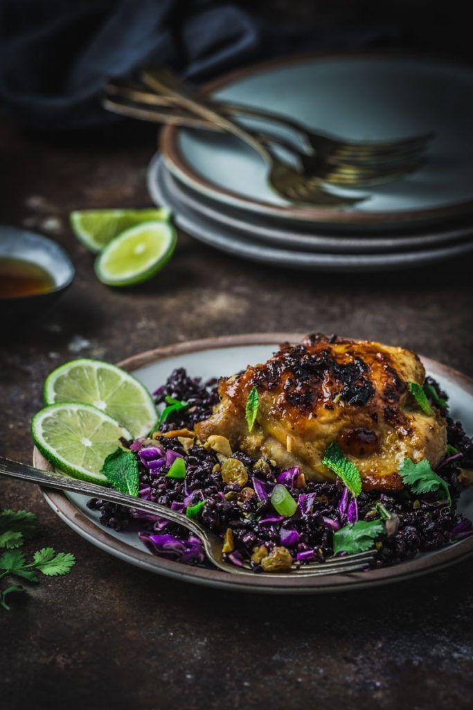 Sticky Lemongrass Chicken Thighs With Black Rice Salad Recipe Lemongrass Chicken Recipe Chicken Thigh Recipes Rice Salad Chicken