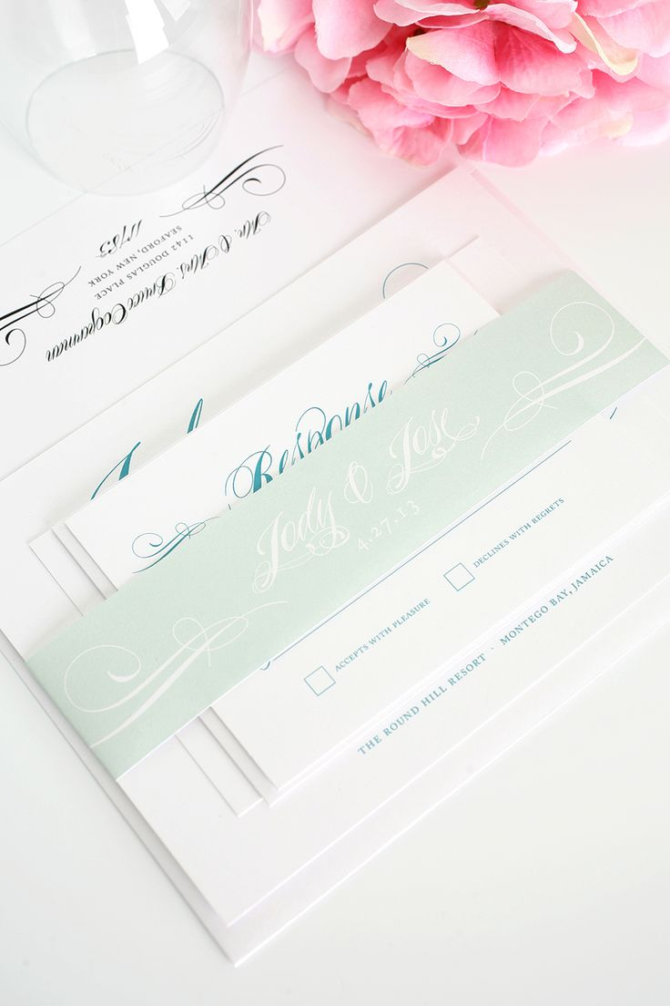 Teal Wedding Invitations With Mint Accents