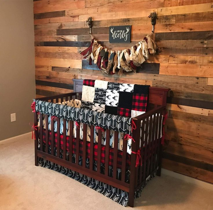 2 Tage Ship Boy Kinderbett Bettwäsche – Buck Deer, schwarze Pfeile, Lodge Red Black Buffalo Check und Black, Woodland Nursery Set – Baby things