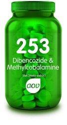 AOV 253 Dibencozide Methylcobalamine - Vitamine B12 en foliumzuur (vitamine B11) ondersteunen tal van lichaamsfuncties. Bijvoorbeeld de aanmaak van rode bloedcellen. Daarnaast ondersteunen vitamine B12 en foliumzuur het concentratievermogen, de leerprestaties, het geheugen, de gemoedstoestand en helpt foliumzuur stressgevoeligheid te verminderen. Zorgen voor een goede weerstand en geven ze extra energie bij vermoeidheid. Verder draagt vitamine B12 bij aan een normale werking van de zenuwen.