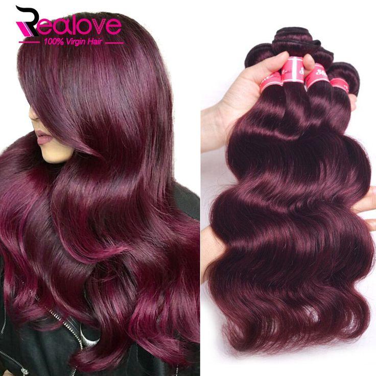 Peruvian Virgin Hair Body Wave 3Pcs She Hair Peruvian Body Wave 100% Human Hair Extensions Burgundy