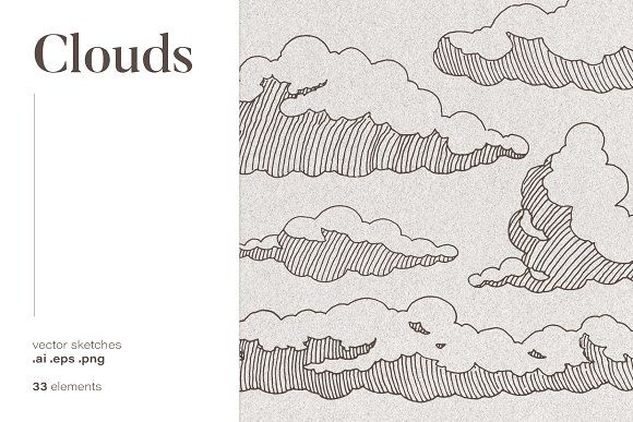 Set Of Clouds Sketches Cloud Drawing Sketches Cloud Illustration