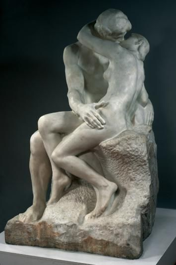 The Kiss, by Rodin, originally represented Paolo and Francesca, from Dante's Divine Comedy: slain by Francesca's husband who surprised them as they exchanged their first kiss.  Originally designed for part of The Gates, until Rodin decided that a depiction of happiness and sensuality was incongruous in with the larger work.   Source: Musee Rodin website