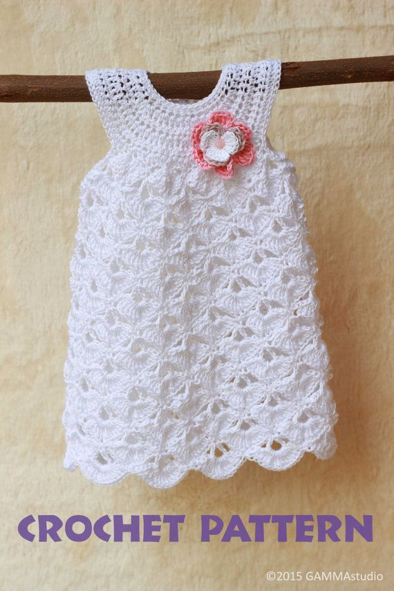 Baby crochet pattern Baptism baby girl dress pattern by GAMMAkids