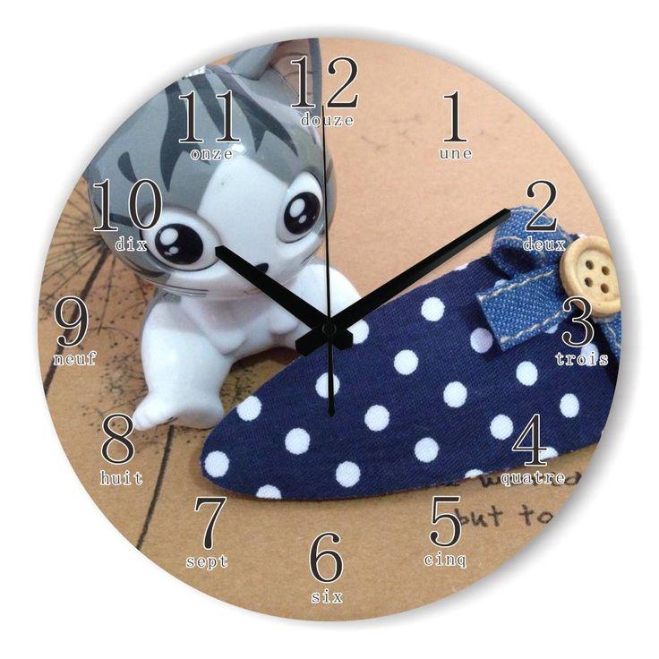 Cartoon Cat Wall Decoration Watch Clock For Kids Room Warranty 3 Years Cartoon Children Room Decorative Wall Clock Best Gifts