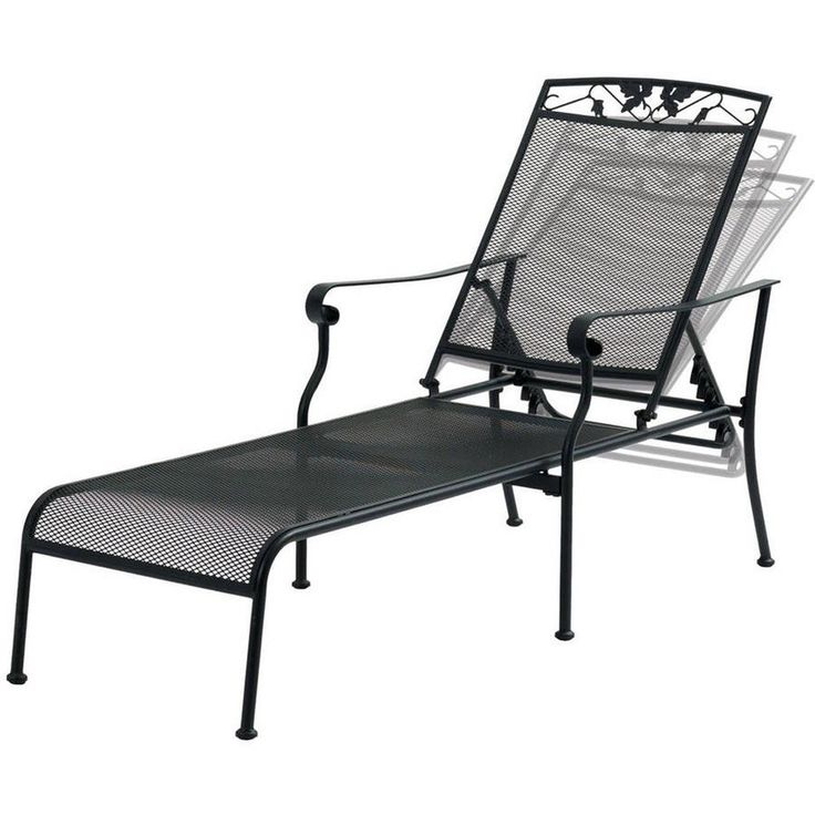 Chaise Lounge Chair Black Wrought Iron Garden Backyard ...