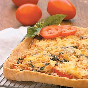"""Tomato Basil Tart from Coastal Living and  MyRecipes.com """"The secret to this recipe is ripe, delicious tomatoes. It's perfect for light summer brunches paired with Honeydew Mimosas, Butter Muffins, fruit salad, and bacon or sausage."""""""