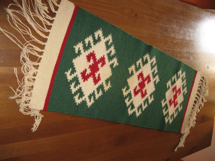 Small hand woven traditional Romanian rug / carpet from Transylvania