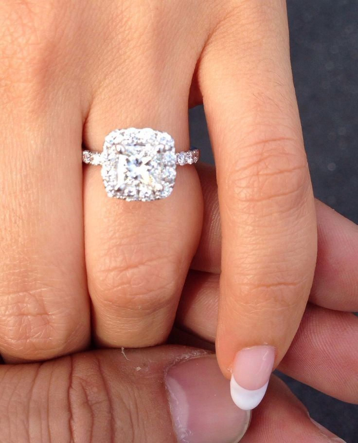 Princess cut diamond with halo engagement ring ~ Massive CLEARANCE SALE exclusively at #Capri #Jewelers #Arizona ~ www.caprijewelersaz.com ♥