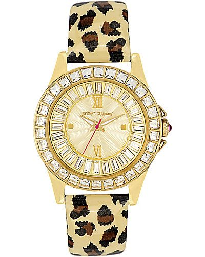 Betsey Johnson BLING BEZEL LEOPARD WATCH LEOPARD #watch #gold #crystal