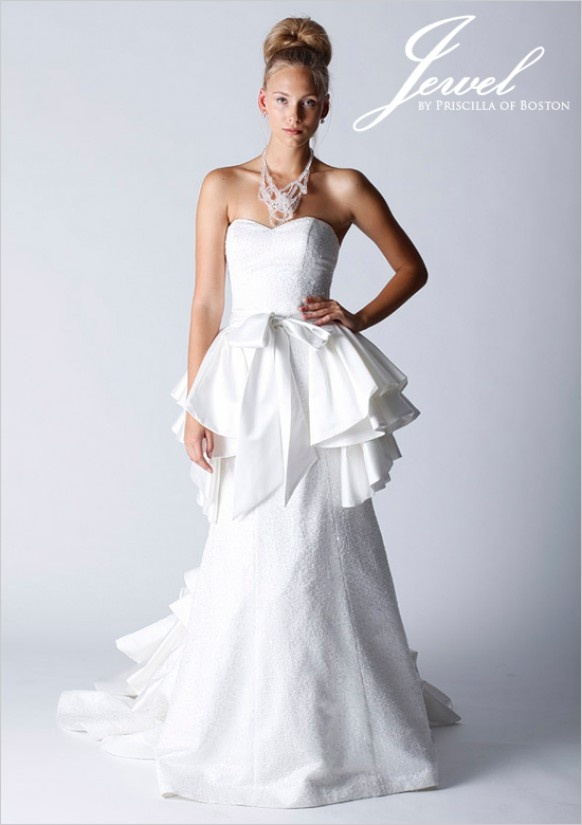 Jewel Bridal Fashion by Priscilla of Boston: My wedding gown, peplum and all...