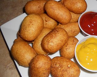 mini corn dogs.     Not a big fan of fried food, but corn dogs are awesome. I hope this recipe tastes good.