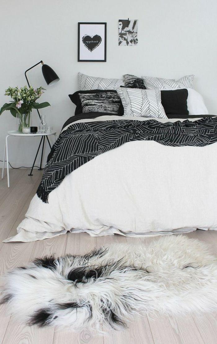 1001 Idees Deco Pour Votre Lit Cocooning Et Chaud Deco Chambre Noir Et Blanc Chambre Noir Et Blanc Deco Chambre Cocooning