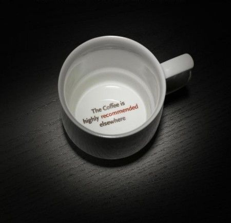 The coffee is better, sneaky job ad cups