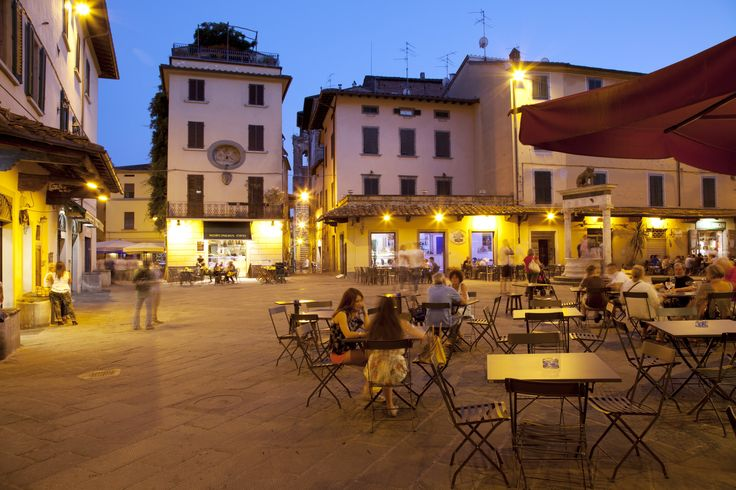 The Piazza della Sala comes into its own at night. Pistoia, Italy.