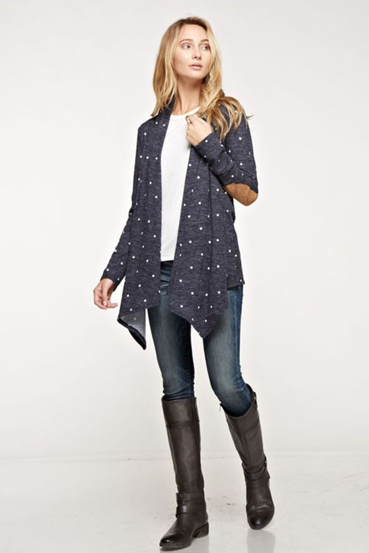 Navy Polka Dot Cardigan with Suede Elbow Patches