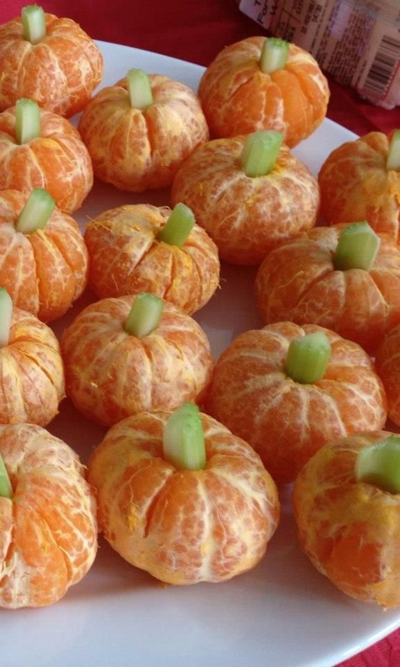 Tangerine Pumpkins and Celery Sticks.