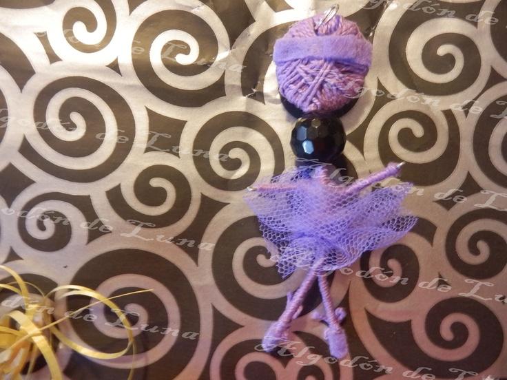 Bailarina de ónixs broche colgante de Algodón de Luna en morado con nuestra perla